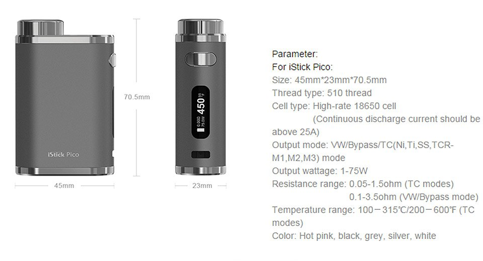 Istick Pico 75W Eleaf Mod Box promo